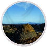Round Beach Towel featuring the photograph Yanakie Rocks by Angela DeFrias