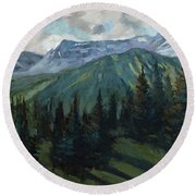 Round Beach Towel featuring the painting Yankee Boy Basin by Billie Colson
