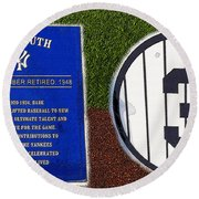 Yankee Legends Number 3 Round Beach Towel by David Lee Thompson