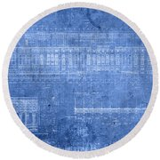 Yankee Stadium New York City Blueprints Round Beach Towel