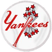 Round Beach Towel featuring the digital art Yankees Vintage by Gina Dsgn