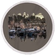 Yaquina Bay Boat Basin At Dawn Round Beach Towel by Thom Zehrfeld