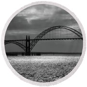 Yaquina Bay Bridge Black And White Round Beach Towel by James Eddy