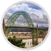 Round Beach Towel featuring the photograph Yaquina Bay Bridge by James Eddy
