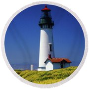 Yaquina Head Lighthouse Round Beach Towel