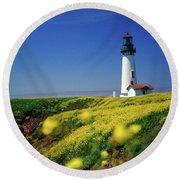 Yaquina Head Lighthouse- V2 Round Beach Towel