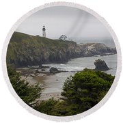 Yaquina Head Lighthouse View Round Beach Towel by Mick Anderson
