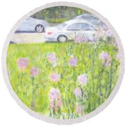 Yard Flowers  In Chicago Round Beach Towel