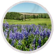 Yard Full Of Wildflowers Round Beach Towel