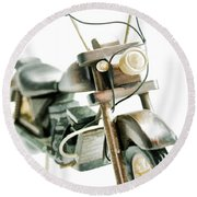 Yard Sale Wooden Toy Motorcycle Round Beach Towel by Wilma Birdwell