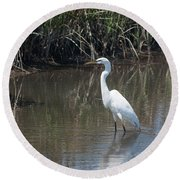 Yawkey Wildlife Refuge - Great White Egret II Round Beach Towel