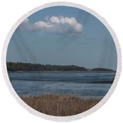 Yawkey Wildlife Reguge - View From The Causeway Round Beach Towel by Suzanne Gaff