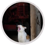 Yawning Barn Cat And Tractor Round Beach Towel