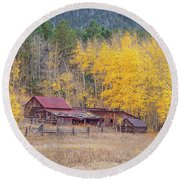 Yearning For The Tranquility Of A Rustic Milieu  Round Beach Towel