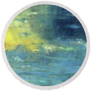 Round Beach Towel featuring the painting Yearning Tides by Michal Mitak Mahgerefteh