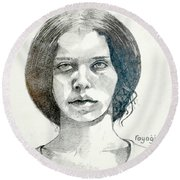Round Beach Towel featuring the drawing Yelena by Ray Agius