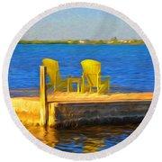 Yellow Adirondack Chairs On Dock In Florida Keys Round Beach Towel