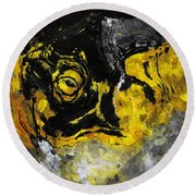 Round Beach Towel featuring the painting Yellow And Black Abstract Art by Ayse Deniz