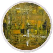 Yellow And Black Abstract Round Beach Towel