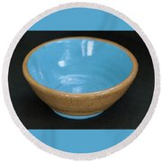 Yellow And Blue Ceramic Bowl Round Beach Towel by Suzanne Gaff