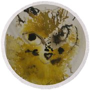 Round Beach Towel featuring the drawing Yellow And Brown Cat by AJ Brown