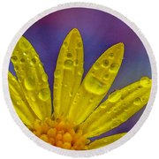 Yellow And Dew Round Beach Towel