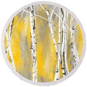 Yellow And Gray Birch Trees Round Beach Towel by Lourry Legarde