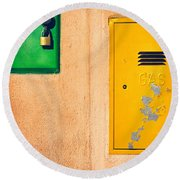 Round Beach Towel featuring the photograph Yellow And Green by Silvia Ganora