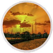 Yellow And Orange Rays Round Beach Towel