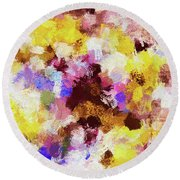 Round Beach Towel featuring the painting Yellow And Pink Abstract Painting by Ayse Deniz