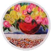 Yellow  And Pink Round Beach Towel