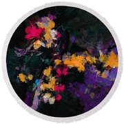 Round Beach Towel featuring the painting Yellow And Purple Abstract / Modern Painting by Ayse Deniz
