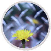 Yellow And Silver Round Beach Towel by John S