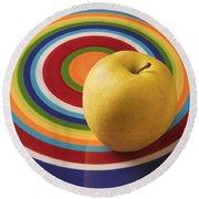 Yellow Apple  Round Beach Towel