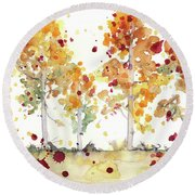 Round Beach Towel featuring the painting Yellow Aspens by Dawn Derman