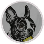 Yellow Ball  Round Beach Towel