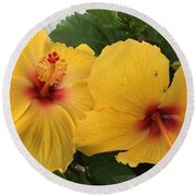 Yellow Beauties Round Beach Towel