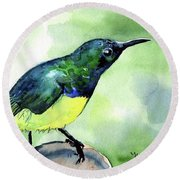 Round Beach Towel featuring the painting Yellow Bellied Sunbird by Dora Hathazi Mendes