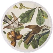 Yellow Billed Cuckoo Round Beach Towel by John James Audubon