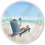 Yellow Bird Beach Selfie Round Beach Towel