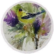 Yellow Bird In The Thistles Round Beach Towel