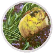 Round Beach Towel featuring the painting Yellow Bird by Karen Ilari