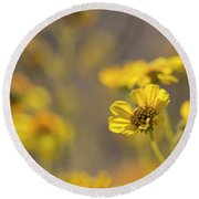 Yellow Blooms Round Beach Towel