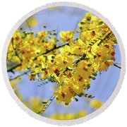 Round Beach Towel featuring the photograph Yellow Blossoms by Gandz Photography