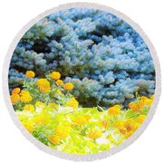 Yellow, Blue, Orange Round Beach Towel