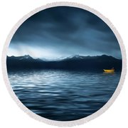 Round Beach Towel featuring the photograph Yellow Boat by Bess Hamiti
