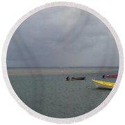 Round Beach Towel featuring the photograph Yellow Boat by Gary Wonning