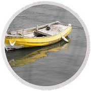 Yellow Boat Round Beach Towel