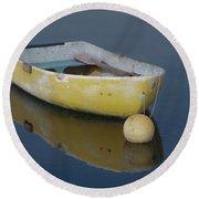 Yellow Rowboat Round Beach Towel
