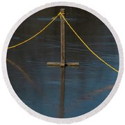 Round Beach Towel featuring the photograph Yellow Boundary On Ice by Gary Slawsky